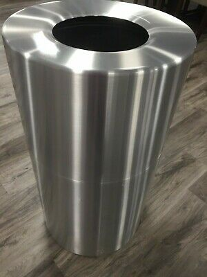 Rubbermaid Commercial Atrium 21 GAL Satin Brushed Aluminum (Open Top) Trash Can