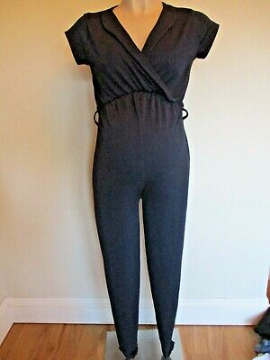 Bluebelle Maternity Navy Blue Textured Jumpsuit All In One Size 8