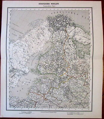 Finland Estonia Livonia 1874 Flemming detailed old map