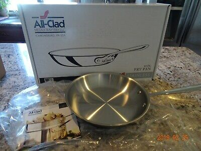 """All Clad 10"""" Inch Fry Pan Tri-Ply Stainless Steel Skillet 4110 NEW"""