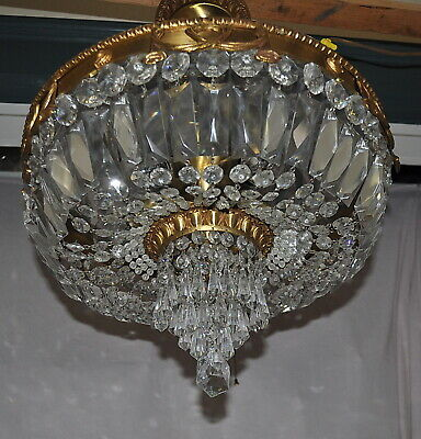 A GLEAMING BRONZE and CRYSTAL BASKET STYLE CHANDELIER with FREE SHIPPING.