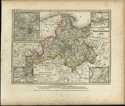 Europe Poland Germany West Prussia 4 Inset City Plans 1849 Meyer detailed map