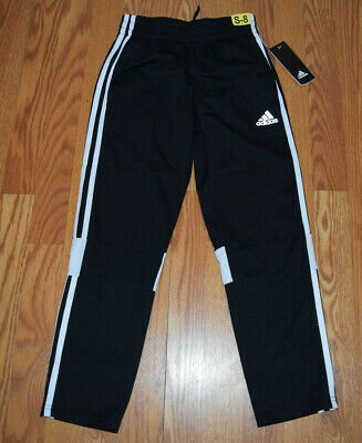 ef12ef8b7 NWT BOYS ADIDAS Black White Stripes Fleece Lined Active Pants Size S ...