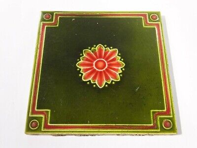 Antique Victorian majolica green red pink glaze relief floral fireplace tile