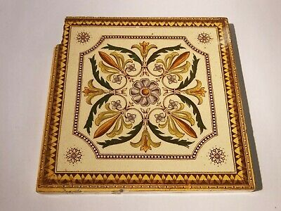Antique Victorian aesthetic movement floral fireplace tile