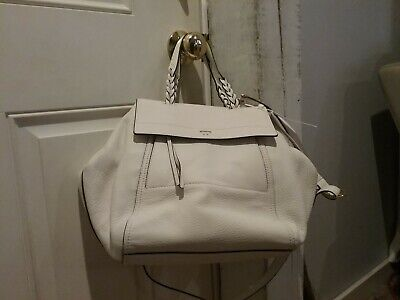 91745512288 Tory Burch Half Moon Satchel in New Ivory Leather Top Handle Bag  650 NWT