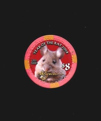 2008 Wynn Las Vegas Chinese New Year of the Rat $8 casino chip LTD Uncirculated