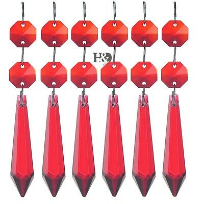 Red Crystal Prisms Chandelier Hanging Ornament Octagon Beads Icicle Pendant 10X