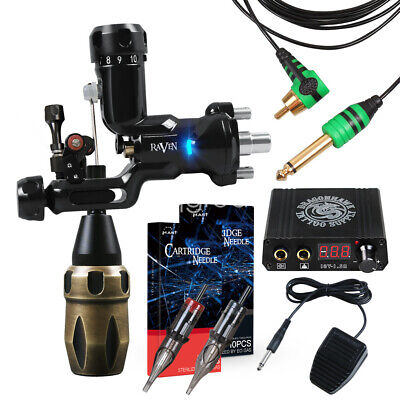 Professional Tattoo Kit Set Power Supply Grips Needles Motor Machine Guns