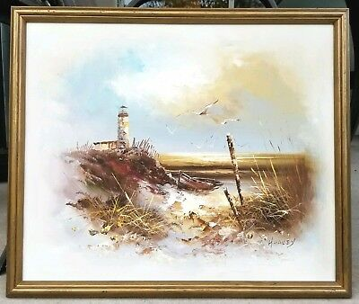 H. GAILEY Vintage Oil Painting Lighthouse Beach Rowboat Boat Seaside Coastal