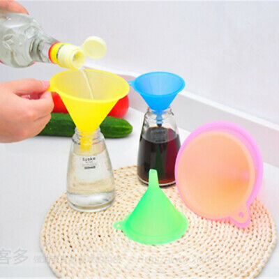 5Pcs Colorful Plastic Funnel Small Medium Large Variety Liquid Oil Kitchen Tool