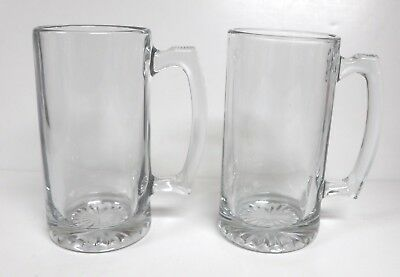 LOT of 2 LARGE HEAVY CLEAR GLASS BEER SPORTS MUGS STEINS 26.5 oz NEW