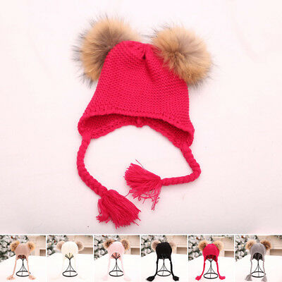 Ladies Kids Knitted Beanie Hat Ribbed With 2 Large Faux Fur Pom Poms Winter Warm