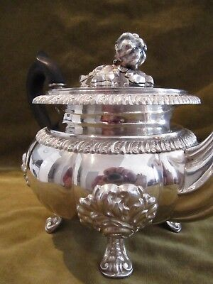 Gorgeous 1840 french sterling 950 silver large tea pot Louis Philippe st Veyrat