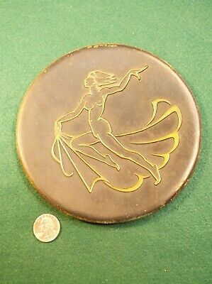 """Beautiful Vtg Antique Art Nouveau """"Cast Brass"""" Nude Lady Running With """"Linens"""""""