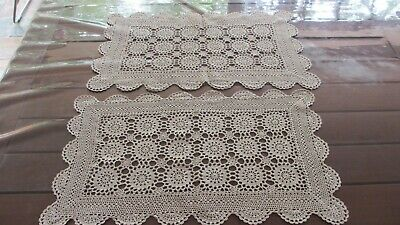 2x Vintage Beige Crochet Doileys Placemats or Runners