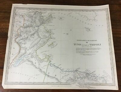 Antique Map Tunis Tunisia Tripoli Chapman Hall Victorian Old Chart 1836