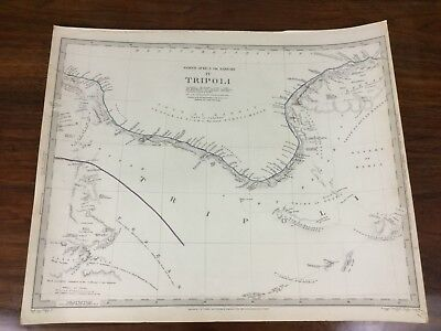 Antique Map Tripoli Libya Africa Barbary Chapman Hall Victorian Old Chart 1837
