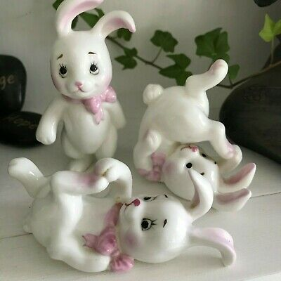 Bunny Rabbit  - Set of 3 -  Ornaments, Figurine, Preloved, Easter, cute