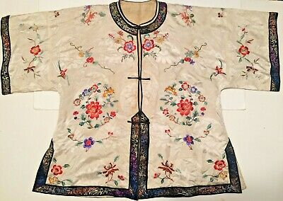 Antique Japanese Kimono with Embroidered Flowers Silk Rare very old top