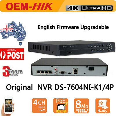 HIKVISION NVR DVR DS-7604NI-K1/4P 4CH 4 POE 4K H.265 For HIKVISION IP Camera