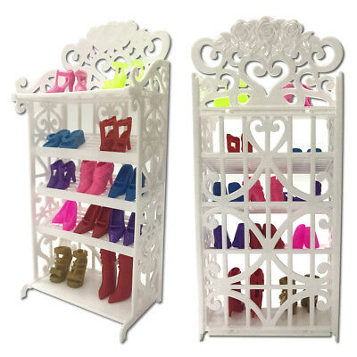 White Plastic 5-layer Doll Shoes Rack Hollowed Shoe Shelt + 8 Pairs Dolls Shoes