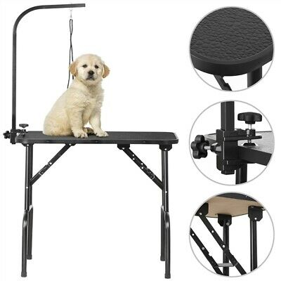 "32"" Folding Dog Pet Grooming Bath Table Adjustable Noose Arm Non Slip Top"