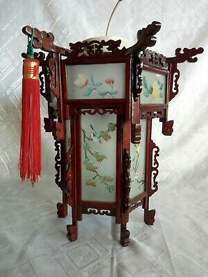 Antique Chinese Ceiling Lantern Light - carved wood, painted glass large RARE