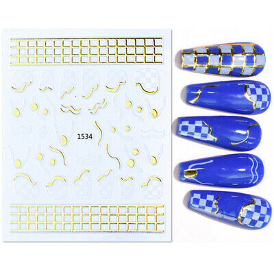 3 Sheets Hollow Nail Vinyls Decals Stencil Stickers Nail Art Irregular Pattern