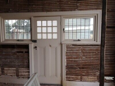 Old LEADLIGHT TIMBER FRONT DOOR ENTRY casement window glass FRENCH COLONIAL