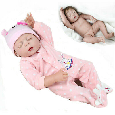"23"" Full Body Silicone Reborn Dolls Lifelike Baby Girl Newborn Doll Gifts"