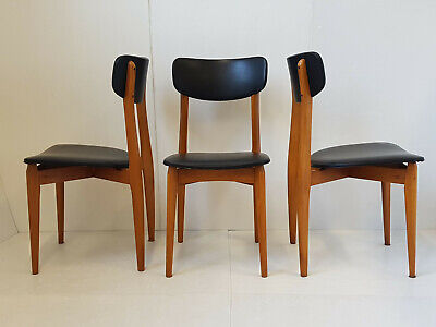 Suite Of 3 Chairs Vintage 1950 Beech & Leatherette Black 50S 50'S Years 50