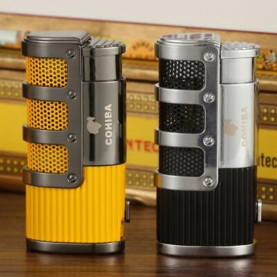 Cohiba Tripe Jet Torch Flame Cigar Lighter With Cigars Cutter Punch Yellow