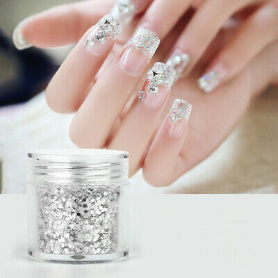 Nail Glitter Sequins Powder Nail Art White Silver Mixed Manicure 3D Decor Hot