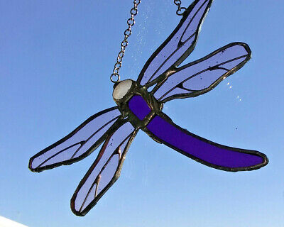 Stained glass dragonfly suncatcher Handmade window decoration, Reduced price