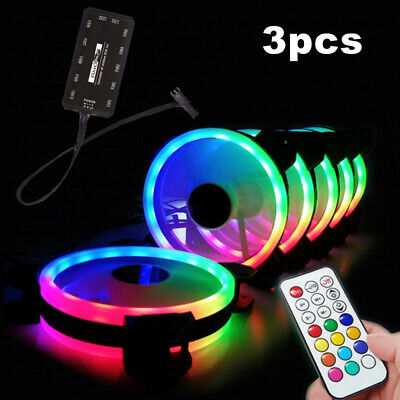 3x RGB LED PC Cooling Fans 120mm CPU Cooler With Remote Control Silent