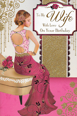 To My Wife Birthday Card,**Art Deco** Luxury Large 11 X 7 Inch*1St Class Post*S4