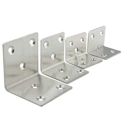 8x 4/6 Holes Stainless Steel L Shape Corner Brace Joint Right Angle Bracket
