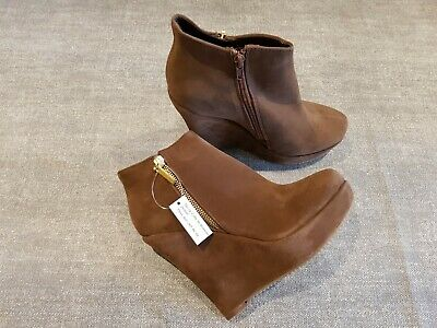 9994445db791 Koi Couture size 6 brown faux suede side zip platform wedge heel ankle boots