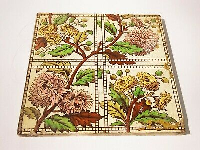Antique Victorian Decorative Art Tile Co chrysanthemums tile fireplace ceramic