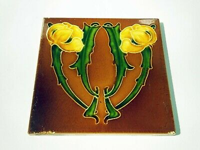Antique Victorian Art Nouveau floral majolica tile fireplace ceramic brown green