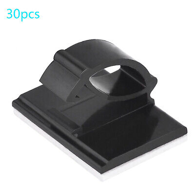 30Pcs Black Self-adhesive Car Wire Clips Tie Rectangle Cable Holder Clamp Tool