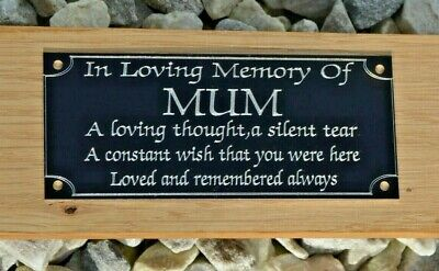 "HIGH GLOSS BLACK MEMORIAL BENCH PLAQUE GRAVE SIGN PERSONALISED ENGRAVED 5"" x 2"""