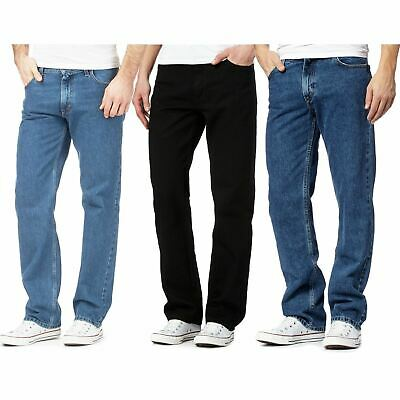 Mens Straight Leg Regular Fit Denim Jeans Boys Plain All Waist and Sizes Pants
