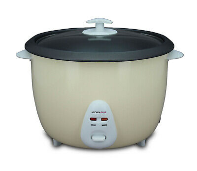 Kitchen Genie Deluxe Rice Cooker Steamer Glass Lid 16 Cup 2.8 Litre 1000W Cream