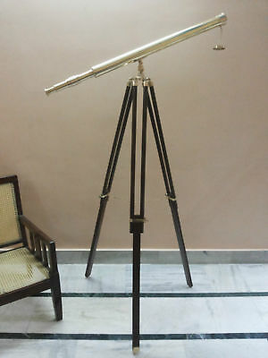 Antique Nautical Brass Telescope With Wooden Tripod Stand