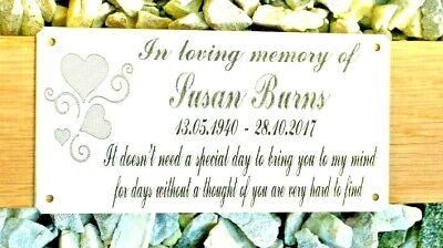 """Solid Brass Memorial Bench Plaque Grave Sign Personalised Engraved 6"""" X 3"""" Heart"""