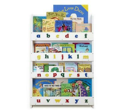Tidy Books® Children's Bookcase in White with Alphabet 115cm H x 77cm W x 7cm D