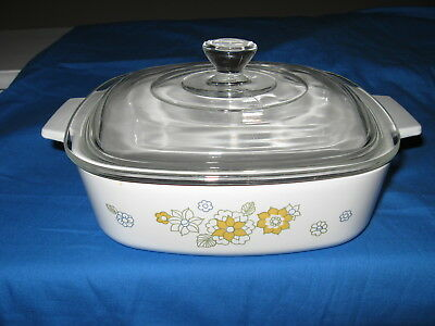 Corning Ware Floral Bouquet 1 Quart Casserole Dish with Lid A-1-B