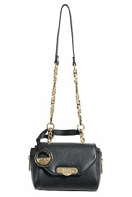 VERSACE COLLECTION BLACK pebbled leather gold chain strap satchel ... 3188c2460a9df